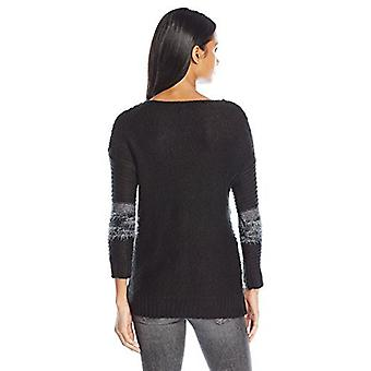 Love by Design Junior's Thick Stripe Pullover Sweater, Black Combo, Large