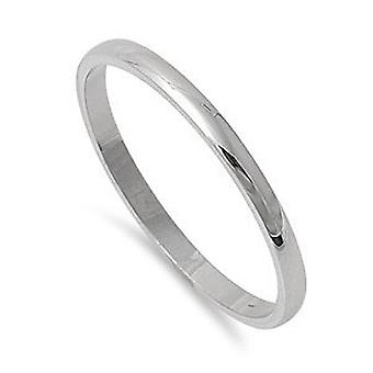 BOOLAVARD Silver Tone High Polish 2mm Plain Comfort Fit Wedding Band Ring Stainless Steel, Many Sizes