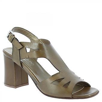 Leonardo Sko Kvinner's håndlagde slingback hæler sandaler i brunt kalv skinn