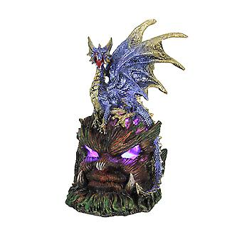 Angry Blue Dragon Atop Green Man Leaf God Base LED Lighted Statue