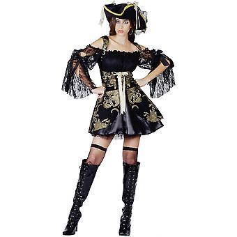 Déguisement pirate noir et doré femme