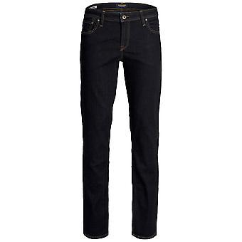 Jack och Jones Mens Straight Jeans Knappen Fäst Zip Fly Byxor Byxor Lätt