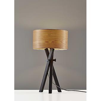 "15"" X 15"" X 26.5"" Black Wood Metal Table Lamp"