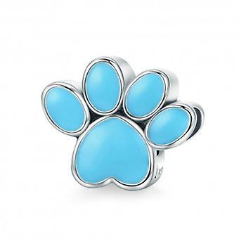 Sterling Silver Charm Dog Footprint Blue - 5672
