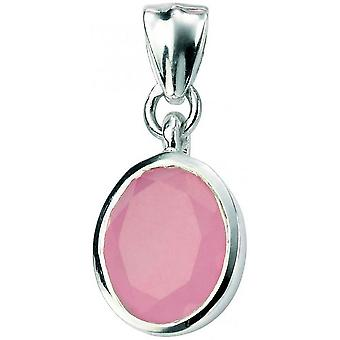 Beginnings Jade Oval Drop Pendant - Pink/Silver