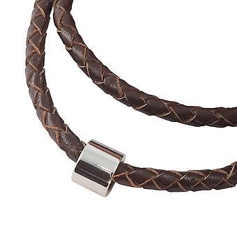 Colar de fita de couro trançado com pingente cadeia feminina 3 mm marrom