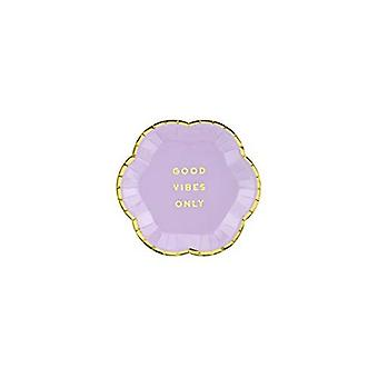Purple Paper Plates'Good Vibes Only' 13cm Diameter x 6 Canape / Party
