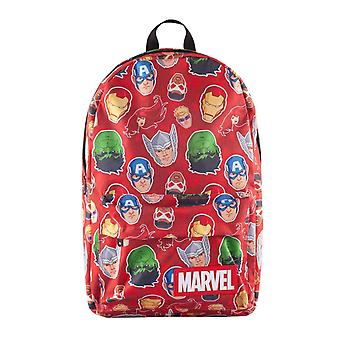 Marvel Rygsæk Karakter Faces Over Hele Print Logo nye officielle Red Unisex