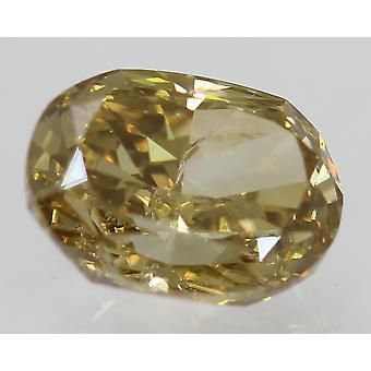 Cert 1.01 Carat Brown Yellow VVS2 Oval Natural Loose Diamond 6.76x5.04mm 2EX