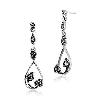 Art Nouveau Style Round Marcasite Drop Earrings in 925 Sterling Silver 214E661401925