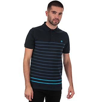 Mannen's Timberland Miller Rivers Stripe Polo Shirt in Blauw