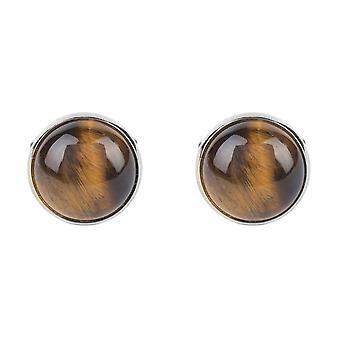Erkek Kutulu Kol Düğmeleri Kahverengi Kaplanlar Göz Gemstone Gümüş Yuvarlak Takı Düğün