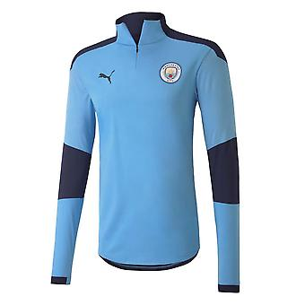 2020-2021 Man City Puma Half Zip Training Top (Blue) - Kids
