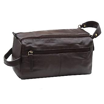 Primehide Leather Washbag - Toiletry Shave Bag - Double Zip Carry Handle - 917