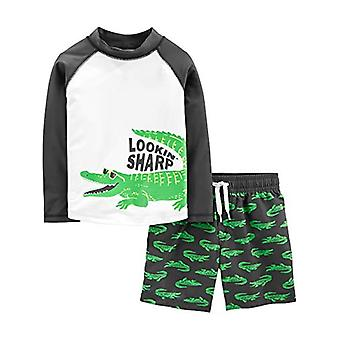 Simple Joys by Carter's Boys' 2-Piece Swimsuit Trunk and Rashguard, Green All...