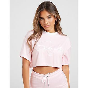 New SikSilk Women's Pinstripe Crop T-Shirt Pink