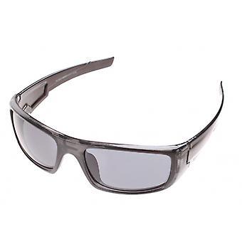 sportzonnebril unisex zwart glimmend met grijze lens