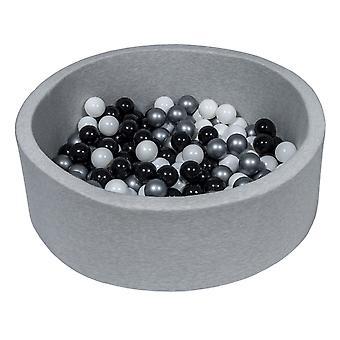 Poço de bola 90 cm com 150 bolas pretas, brancas e prateadas