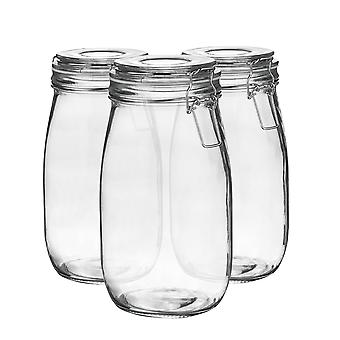 Argon Tableware Glass Storage Jars with Airtight Clip Lid - 1.5L Set - White Seal - Pack of 6