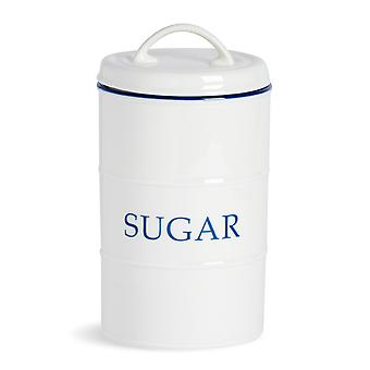 Nicola Spring Country Farmhouse White Kitchen Sugar Canister with Blue Rim - 11cm x 20cm