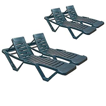 Resol Master Garden Sun Lounger Bed - Adjustable Reclining Outdoor Summer Furniture - Green - Pack of 4