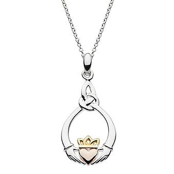 Heritage Sterling Silver Claddagh Pointed Knot Rose Gold Plate Pendant 9208GRG026
