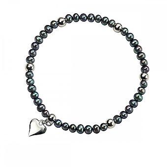 Elements Silver Peacock Blue Pearl Stretch Bracelet B3832BZ362