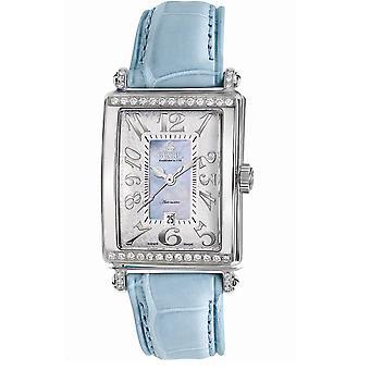 Gevril Kvinnor's 6207NT Glamour Automatisk Diamond MOP Dial Blå Läder Klocka