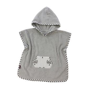 Puckdaddy Bath Poncho Foxi 57x84 cm Baby Poncho com Capuz Fox Pattern em Cinza
