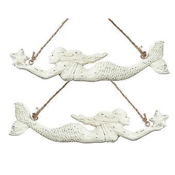 Swimming Mermaid with Sea Star Coastal Holiday Ornaments Set of 2