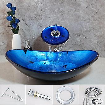 Vessel Shaped, Tempered Glass Wash Basin And Waterfall Faucet Set