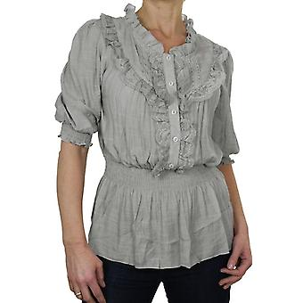 Femmes's Frilly Lace Elasticated Waist Chemisier Shirt Ladies Everyday Casual Short Sleeve Ruffle Summer Tunique Top 8-18