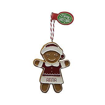 Pendentif d'arbre de Noël d'ANNA de figure de pain d'épice