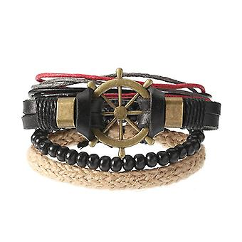 Punk Multilayer Hand Woven Bracelet Rudder Boat Anchor Beaded Bracelet