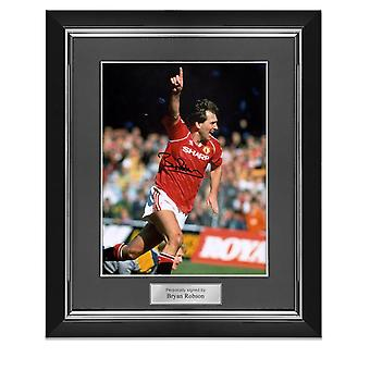 Bryan Robson Signed Manchester United Photo: Goal Celebration. Deluxe Frame