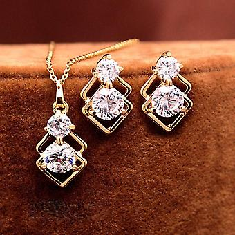 Wedding Crystal Jewelry Sets Gold Necklace Earrings Party Jewellery (gold)