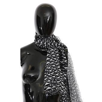 Black White Neck Wrap Silk Scarf