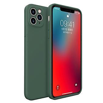MaxGear iPhone XS Square Silicone Case - Soft Matte Case Liquid Cover Dark Green