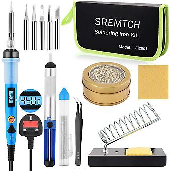 Soldering Iron Kit, 80W Digital LCD Solder Gun with ON/Off Switch Adjustable Temperature