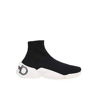 Salvatore Ferragamo 035741734128 Damen's Schwarzer Stoff Hi Top Sneakers