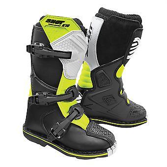 2020 Shot K10 2.0 MX Boots Kids - Zwart/Wit/Neon Geel