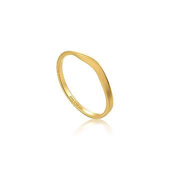 אניה האלה כסף סטרלינג מצופה זהב טבעת עקומה מודרנית R002-03G