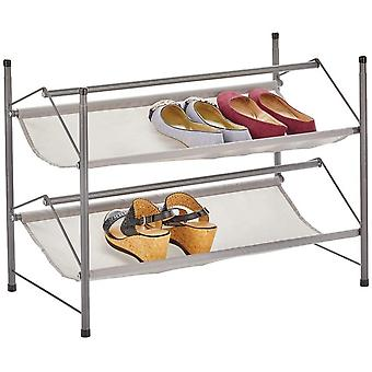 mDesign Shoe Rack with 2 Tiers – Stackable Metal and Fabric Shoe Shelf