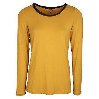 Fuego Woman Mustard Yellow Long Sleeve Round Neck T-shirt