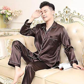 Men Pijamale Set, Solid Satin vara cu maneca lunga Sleepwear Costum
