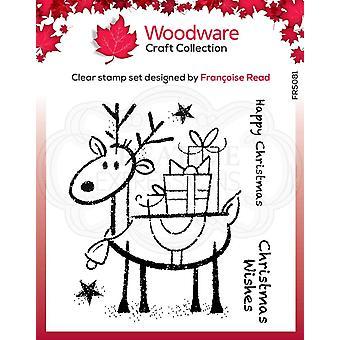 Woodware Clear Singles Rudolph Pressies 4 x 4 postimerkissä
