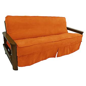 Solid Microsuede Double Corded 8 To 9-Inch Full Futon Slipcover - Tangerine Dream