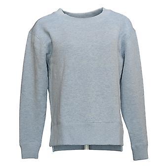 Kirkland Signature Women's Fleece Sweatshirt Crewneck W/ Side Slit Gray