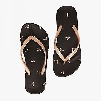 Joules Flip Flop Ladies Sandalias de Playa Negro Abeja Negra