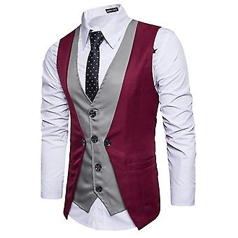 Two Piece Patch Mens Suit Vest, Casual, Slim, Business Social Waistcoat, Män